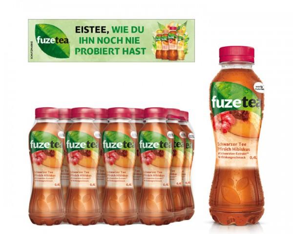 Fuze Tea Schwarzer Tee Pfirsich Hibiskus Pack 12x0,5 ltr. PEW